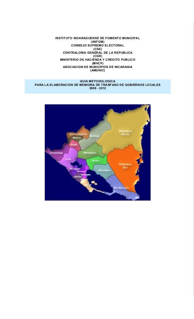 INSTITUTO NICARAGUENSE DE FOMENTO MUNICIPAL                              (INIFOM)                   CONSEJO SUPREMO ELECTO...