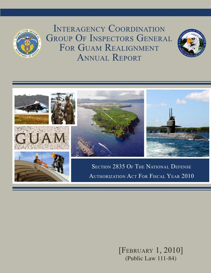 Interagency coordInatIon          January 25, 2010 v1 group of Inspectors general    for guam realIgnment        annual re...