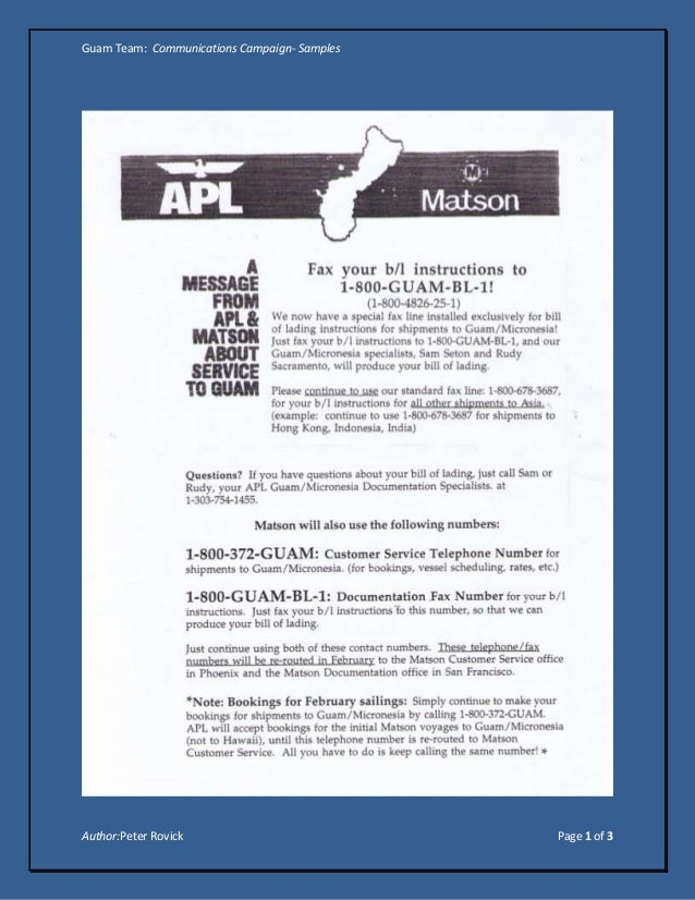 Guam Team: Communications Campaign- SamplesAuthor:Peter Rovick                           Page 1 of 3