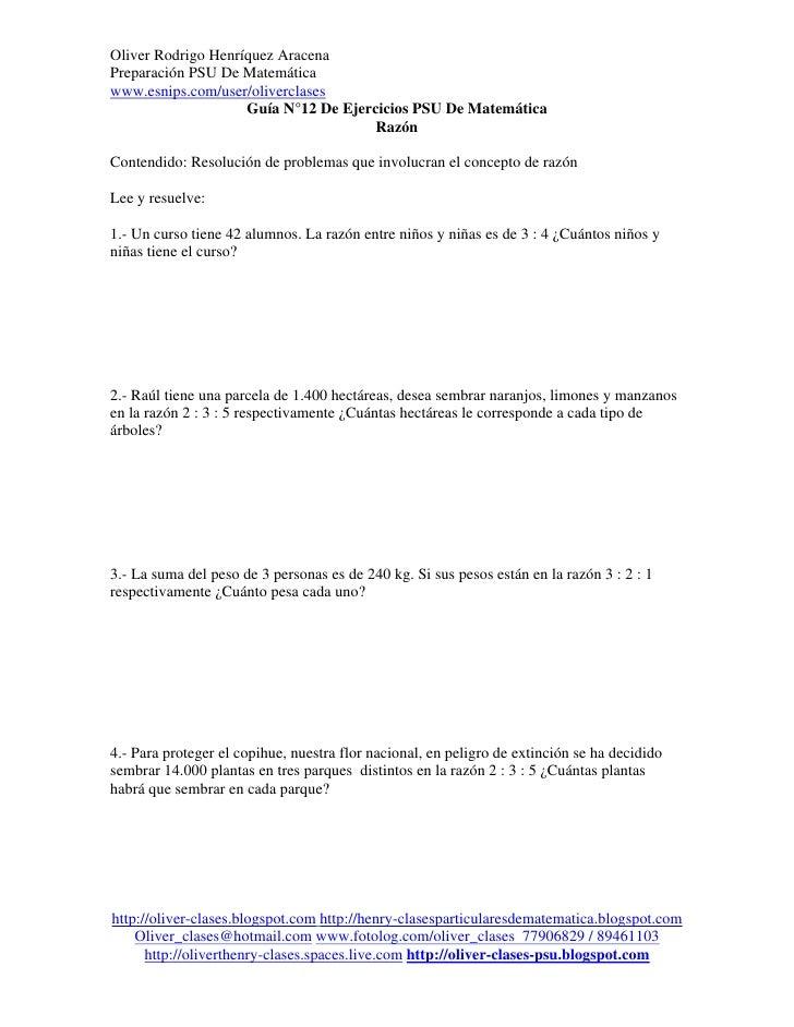 Oliver Rodrigo Henríquez AracenaPreparación PSU De Matemáticawww.esnips.com/user/oliverclases                    Guía N°12...