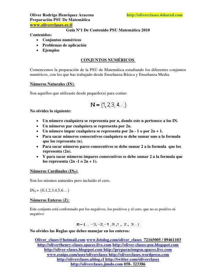 Oliver Rodrigo Henríquez Aracena                               http://oliverclases.4shared.comPreparación PSU De Matemátic...