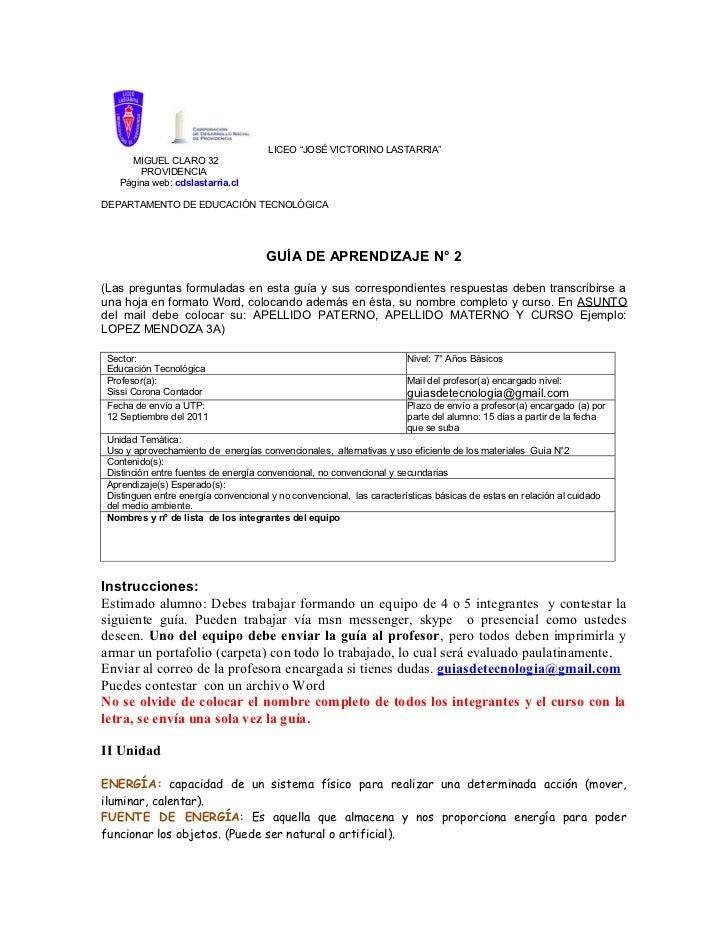 """LICEO """"JOSÉ VICTORINO LASTARRIA""""     MIGUEL CLARO 32       PROVIDENCIA   Página web: cdslastarria.clDEPARTAMENTO DE EDUCAC..."""