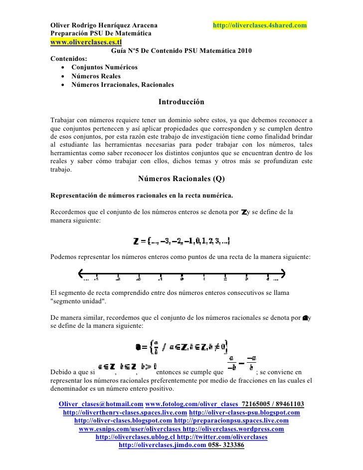 Guía n°5 de contenido psu matemática 2010   conjuntos numéricos