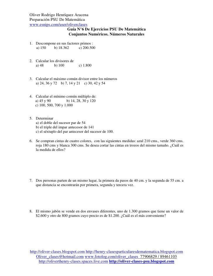 Oliver Rodrigo Henríquez AracenaPreparación PSU De Matemáticawww.esnips.com/user/oliverclases                     Guía N°6...