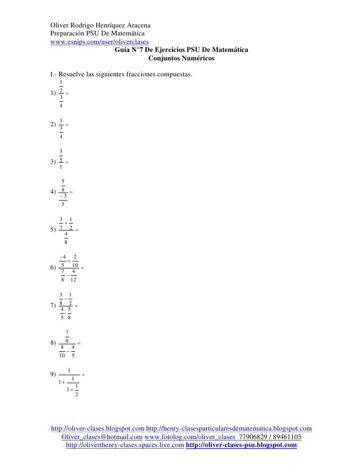 Oliver Rodrigo Henríquez AracenaPreparación PSU De Matemáticawww.esnips.com/user/oliverclases                     Guía N°7...