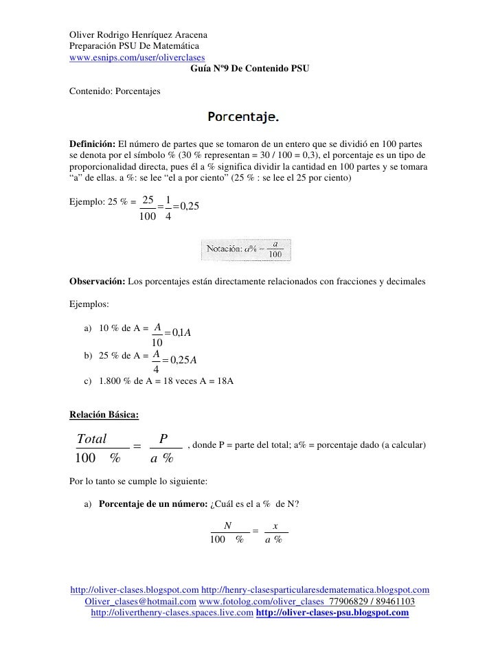 Oliver Rodrigo Henríquez AracenaPreparación PSU De Matemáticawww.esnips.com/user/oliverclases                            G...