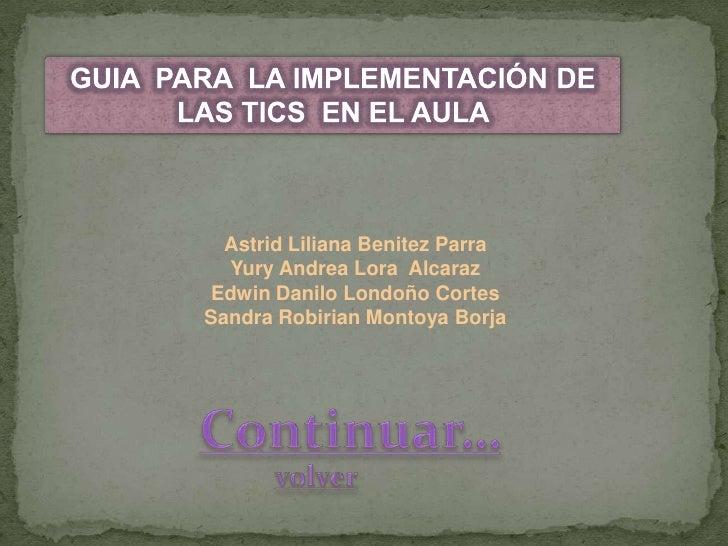 Astrid Liliana Benitez Parra   Yury Andrea Lora Alcaraz Edwin Danilo Londoño Cortes Sandra Robirian Montoya Borja