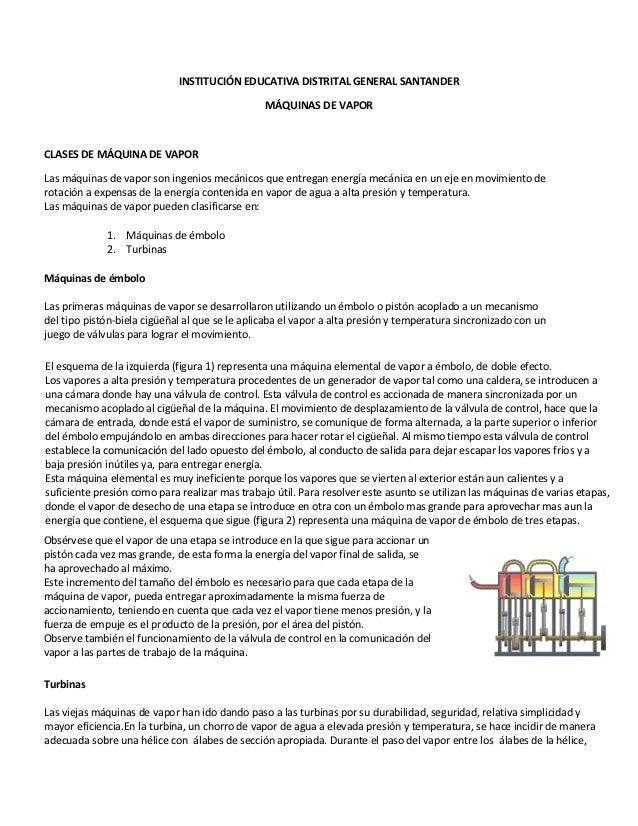 INSTITUCIÓN EDUCATIVA DISTRITAL GENERAL SANTANDER                                                MÁQUINAS DE VAPORCLASES D...