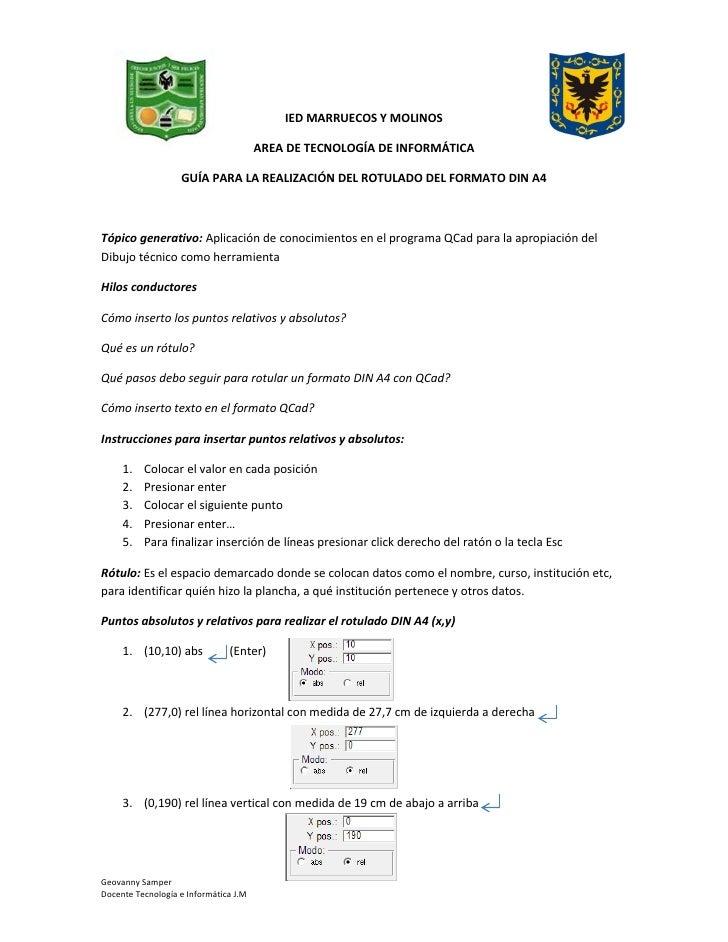 Guía para rotulado din a4 qcad