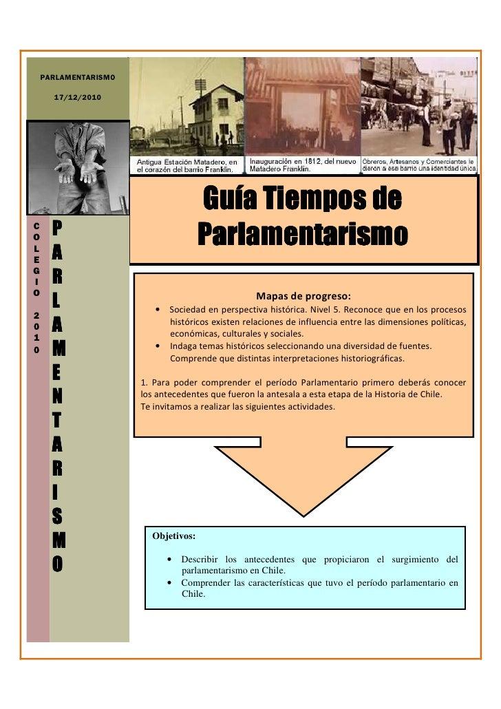 PARLAMENTARISMO      17/12/2010                                     Guía Tiempos deCO      P                              ...