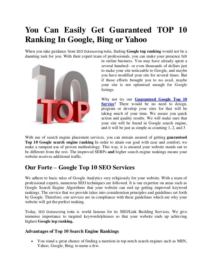 Google Top 10 Ranking Services | Google Top 10 ranking India | Guaranteed Top 10 rankings | Yahoo |MSN | Top 10 search engine positioning | Top Search Engine Placement Services | Google SEO services | Guaranteed top 10 ranking Top 10 Search Engine Rankin