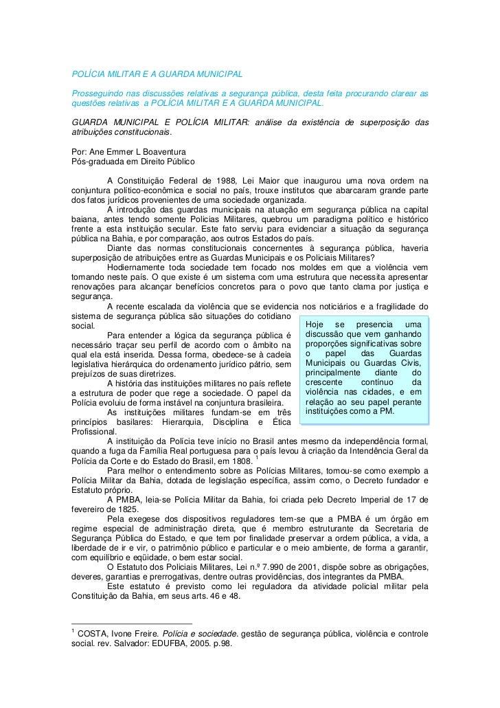 Guarda municipal e polícia militar   análise da existência de superposição das atribuições constitucionais. (por ane emmer l. boaventura)