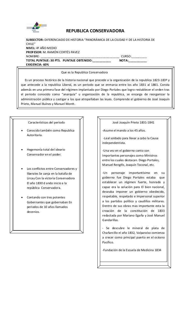 """REPUBLICA CONSERVADORA    SUBSECTOR: DIFERENCIADO DE HISTORIA """"PANORÁMICA DE LA CIUDAD Y DE LA HISTORIA DE    CHILE""""    NI..."""