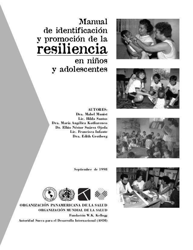 Manual de identificación y promoción de la resiliencia en niños y adolescentes AUTORES: Dra. Mabel Munist Lic. Hilda Santo...