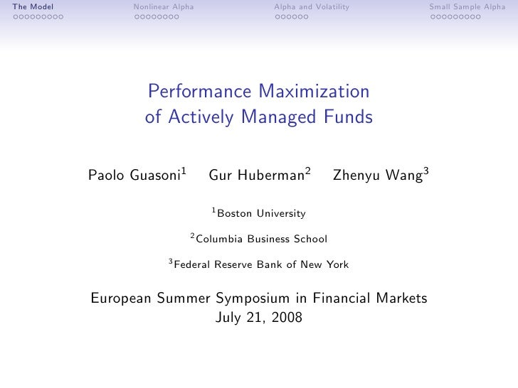 Performance Maximization of Managed Funds