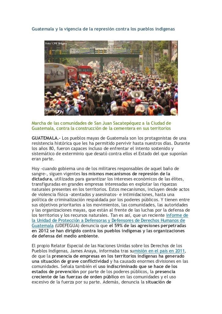 Guatemala y la vigencia de la represión contra los pueblos indígenasMarcha de las comunidades de San Juan Sacatepéquez a l...