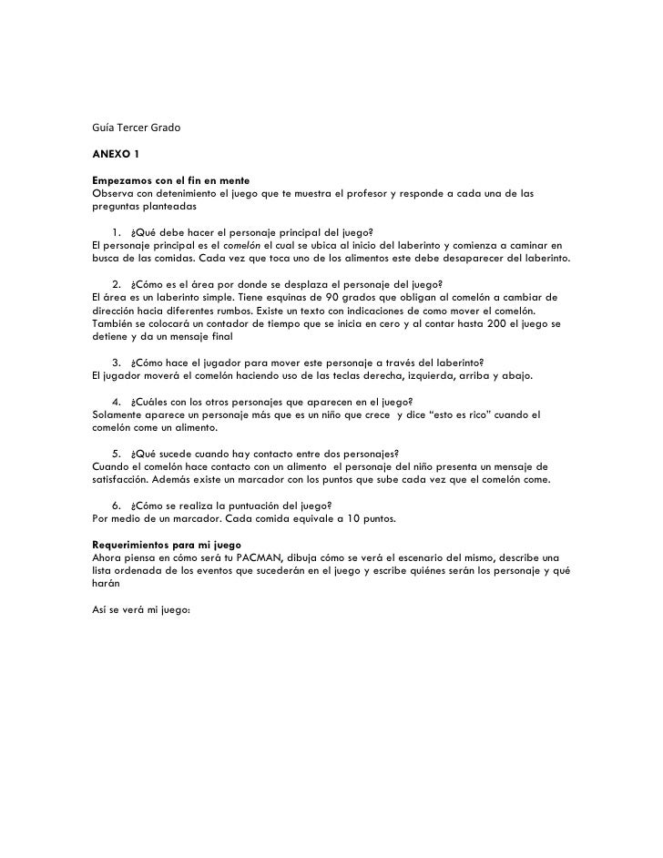 Guía Tercer Grado  ANEXO 1  Empezamos con el fin en mente Observa con detenimiento el juego que te muestra el profesor y r...