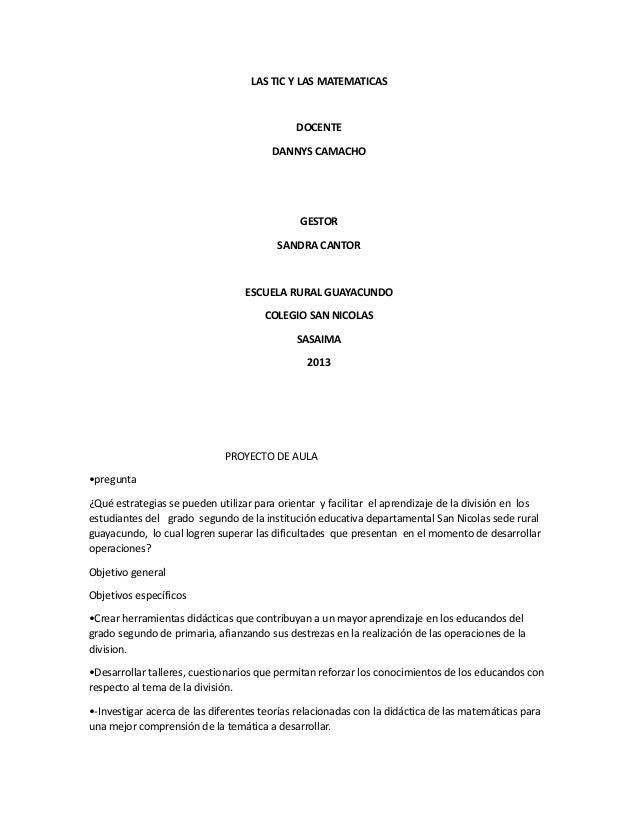 PROYECTO DE AULA ESCUELA RURAL GUAYACUNDO