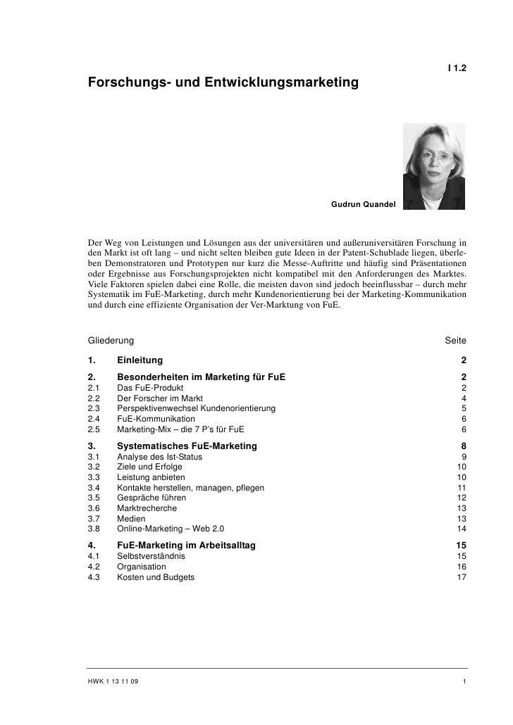 I 1.2Forschungs- und Entwicklungsmarketing                                                                Gudrun QuandelDe...