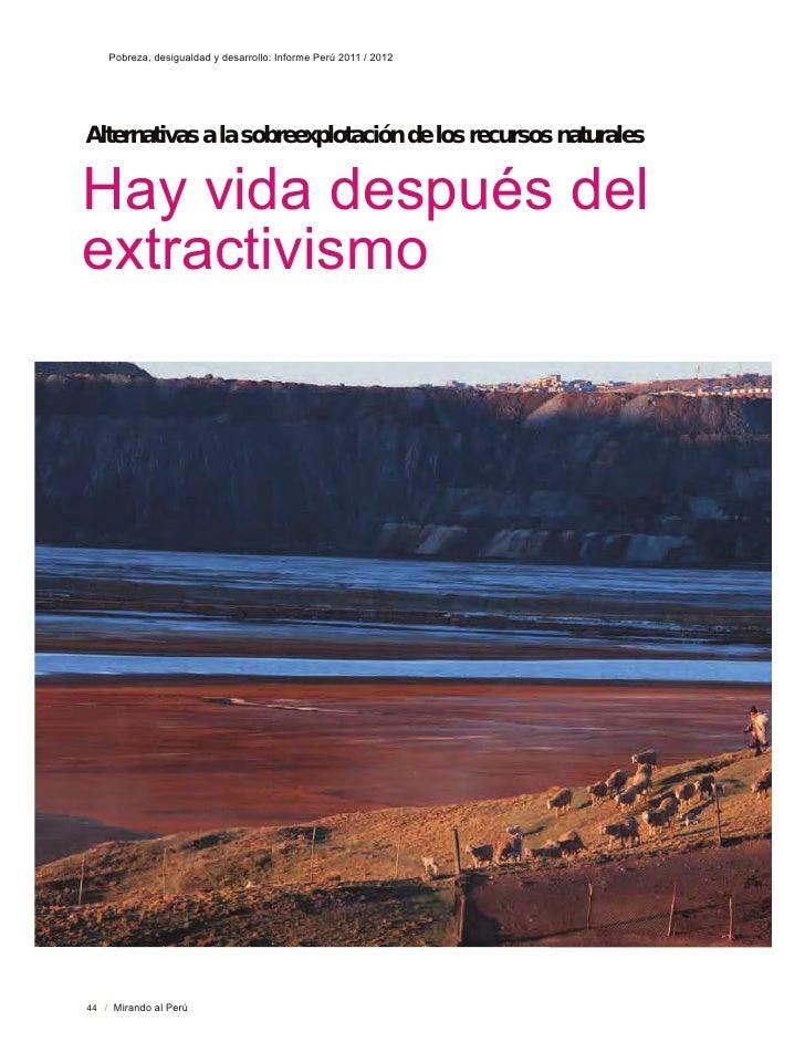 3REUH]D GHVLJXDOGDG  GHVDUUROOR ,QIRUPH 3HU~   Alternativas a la sobreexplotación de los recursos naturales+D YLGD GHVSXpV...