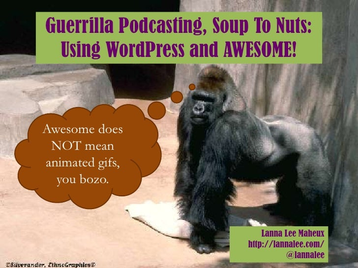 Guerrilla Podcasting, Soup To Nuts: Using WordPress and AWESOME!Awesome does NOT meananimated gifs,  you bozo.            ...