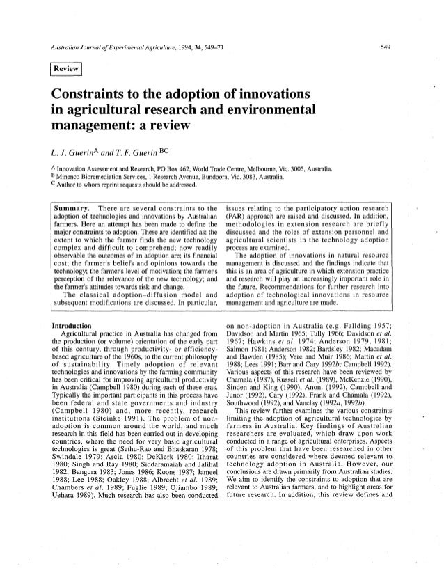 Australian Journal of ExperimentalAgriculture, 1994,34,549-71 Constraints to the adoption of innovations in agricultural r...
