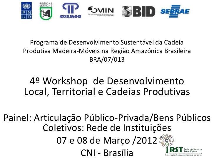 Programa de Desenvolvimento Sustentável da Cadeia    Produtiva Madeira-Móveis na Região Amazônica Brasileira              ...