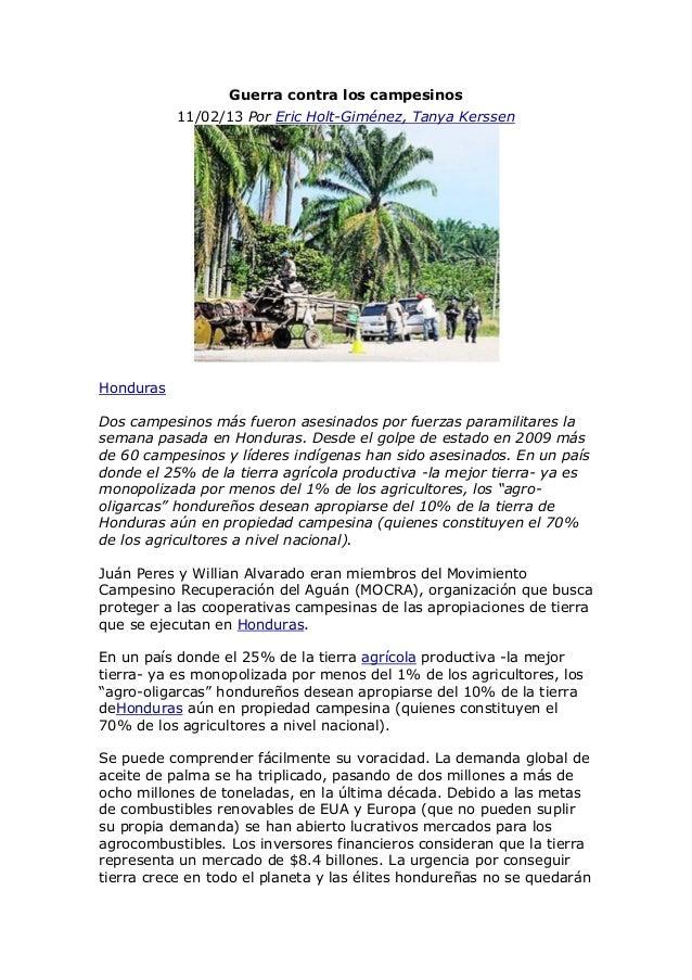 Guerra contra los campesinos           11/02/13 Por Eric Holt-Giménez, Tanya KerssenHondurasDos campesinos más fueron ases...