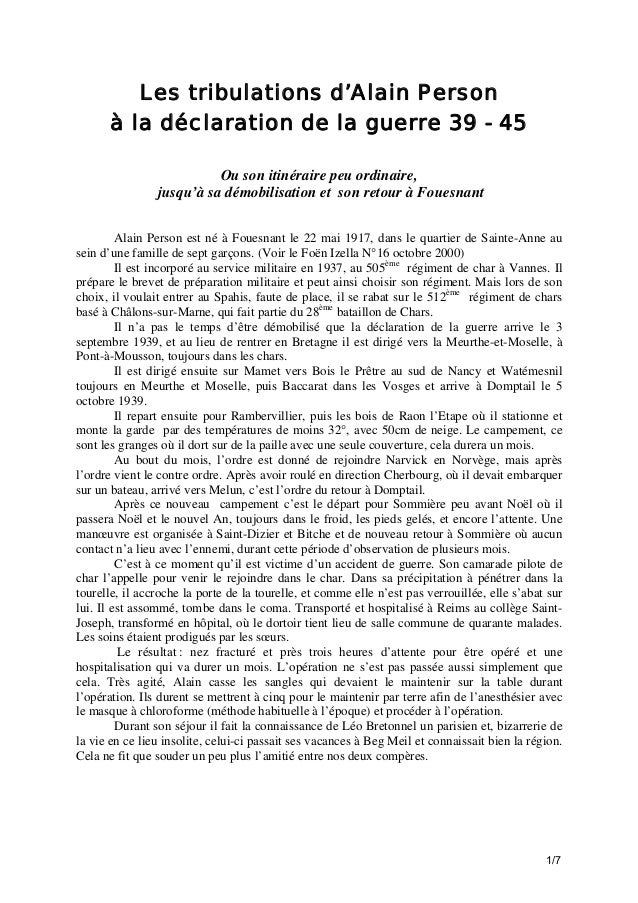 Les tribulations d'Alain Person à la déclaration de la guerre 39 - 45 Ou son itinéraire peu ordinaire, jusqu'à sa démobili...