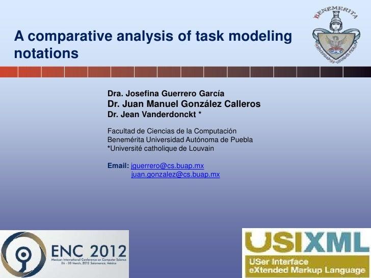 A comparative analysis of task modelingnotations             Dra. Josefina Guerrero García             Dr. Juan Manuel Gon...