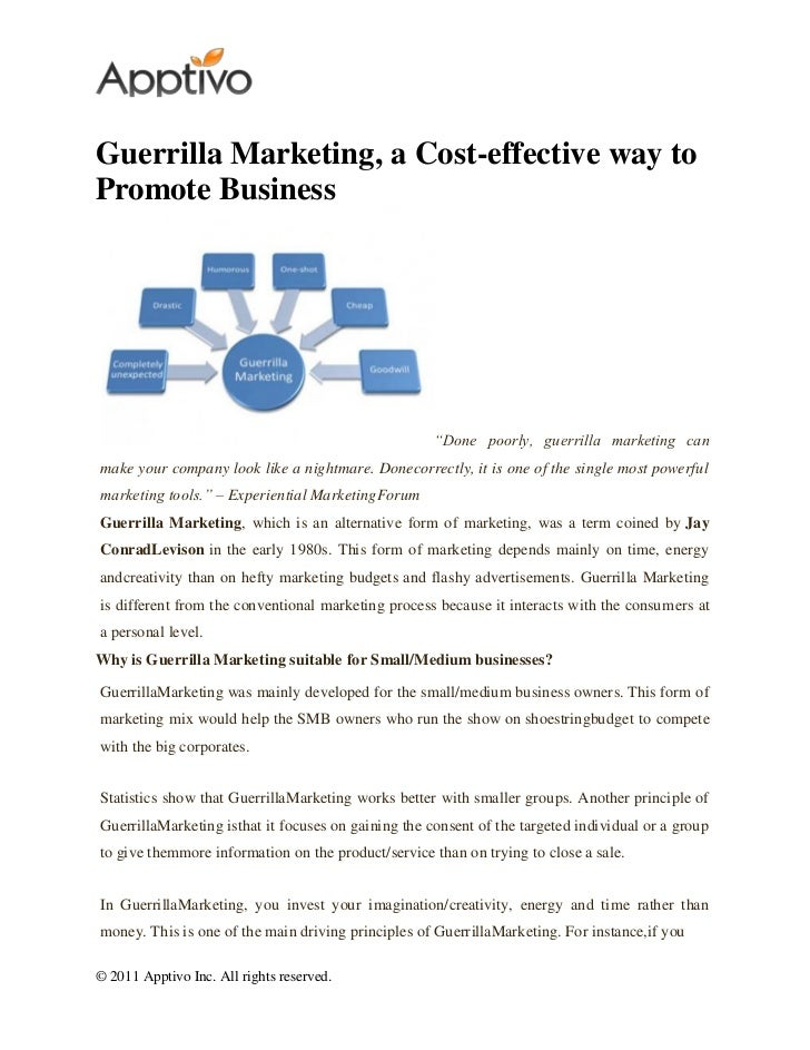 """Guerrilla Marketing, a Cost-effective way toPromote Business                                                     """"Done poo..."""