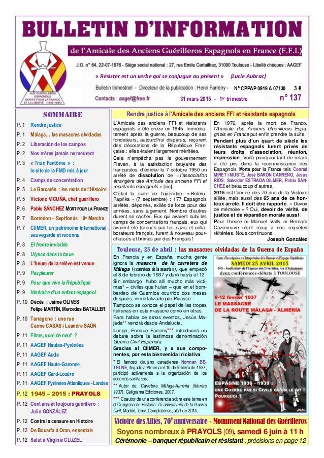P. 1 Rendre justice P. 1 Málaga… las masacres olvidadas P. 2 Liberación de los campos P. 2 Nos mères jamais ne meurent P. ...