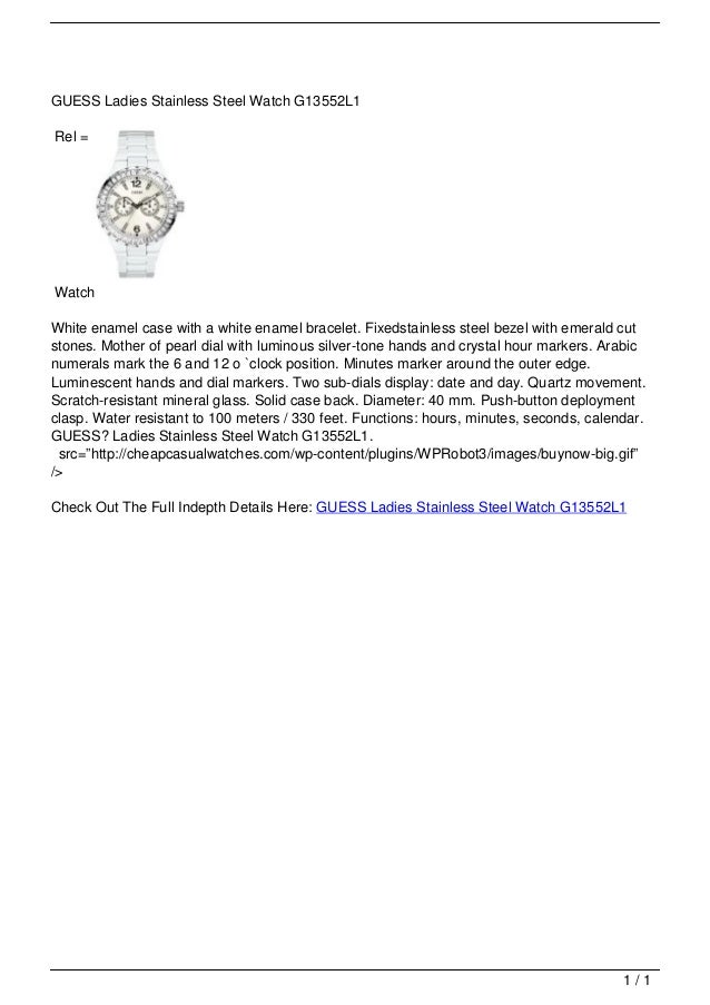 GUESS Ladies Stainless Steel Watch G13552L1                                   Rel =                                   Watc...