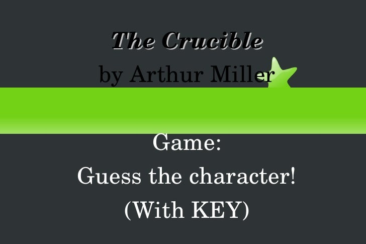 The Crucible by Arthur Miller Game: Guess the character! (With KEY)