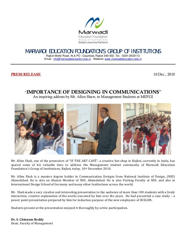 MARWADI EDUCATION FOUNDATION'S GROUP OF INSTITUTIONS Rajkot-Morbi Road, At & PO : Gauridad, Rajkot 360 003. Tel....