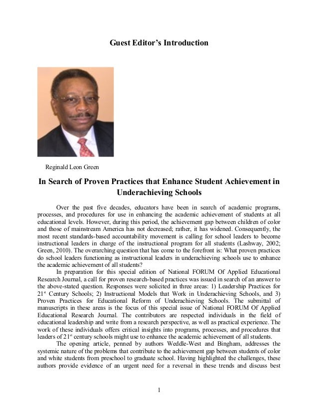 Guest Editor's Introduction Reginald Leon Green In Search of Proven Practices that Enhance Student Achievement in Underach...