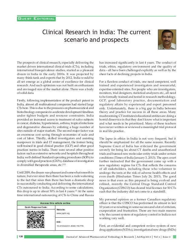 126 Journal of Advanced Pharmaceutical Technology & Research | Jul-Sep 2013 | Vol 4 | Issue 3 The prospects of clinical re...