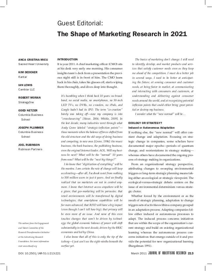 Guest Editorial:                                     TheShapeofMarketingResearchin2021aNCaCRISTINaMICU            ...