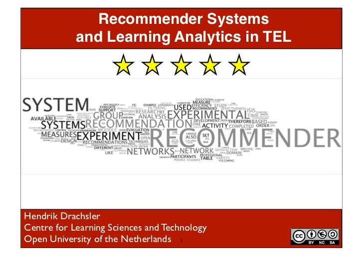 Recommender Systems            and Learning Analytics in TELHendrik DrachslerCentre for Learning Sciences and TechnologyOp...