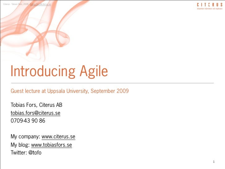 Guest lecture - Uppsala Universitet - Introducing Agile