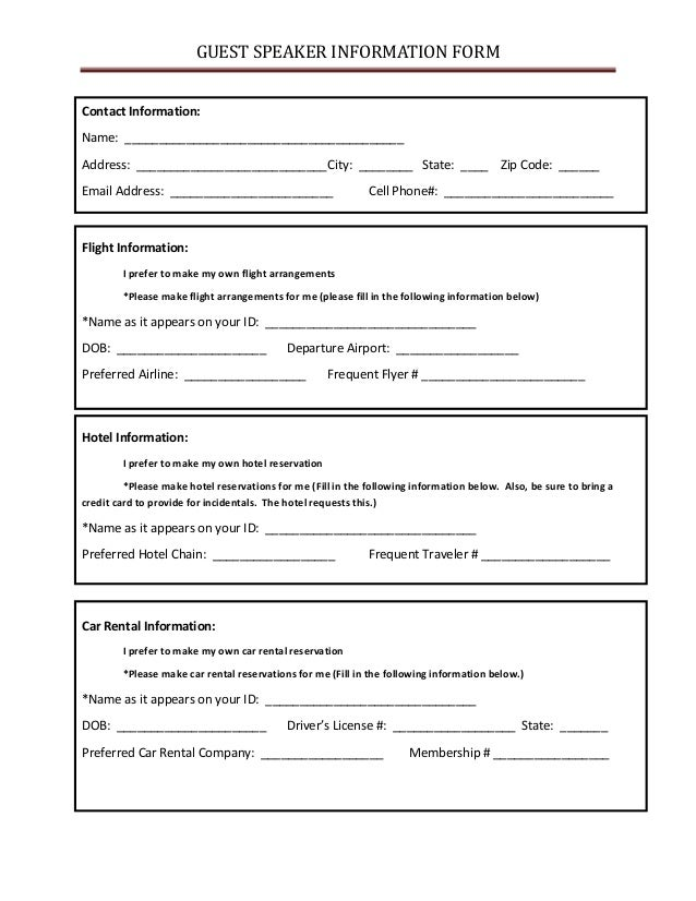 Guest Speaker Information Form