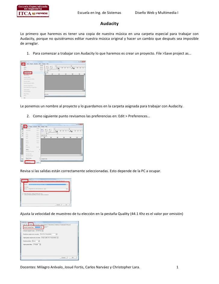 Escuela en Ing. de Sistemas         Diseño Web y Multimedia I                                                    Audacity ...