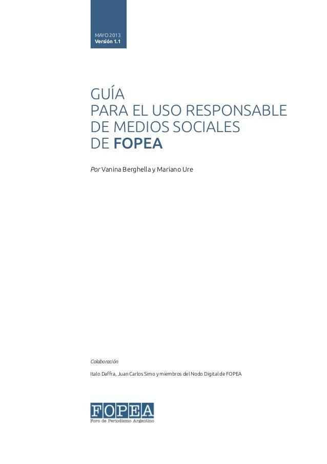 Guía de uso responsable de redes sociales para periodistas -FOPEA