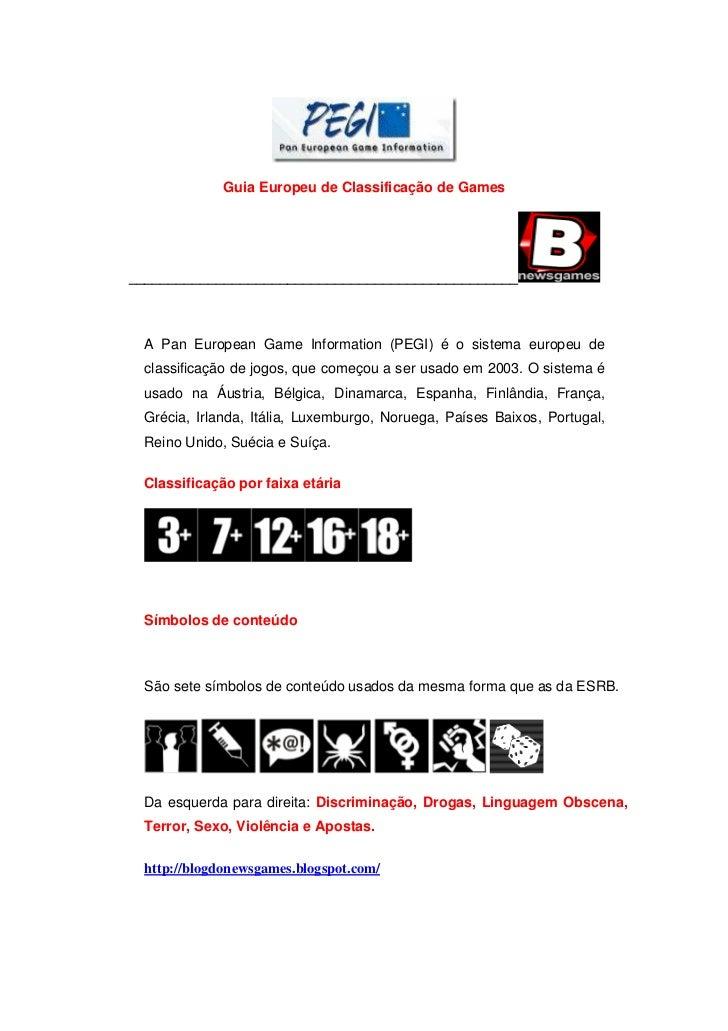 Guia Europeu de Classificação de Games