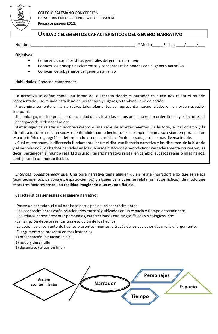 COLEGIO SALESIANO CONCEPCIÓN               DEPARTAMENTO DE LENGUAJE Y FILOSOFÍA               PRIMEROS MEDIOS 2011.       ...