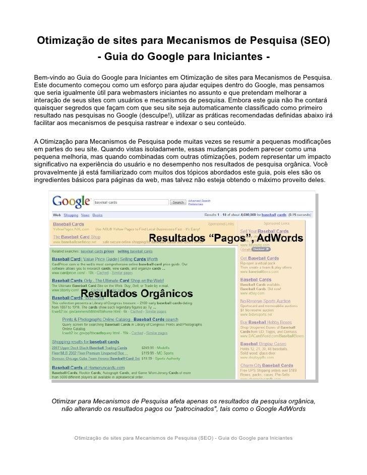 Otimização de sites para Mecanismos de Pesquisa (SEO)            - Guia do Google para Iniciantes - Bem-vindo ao Guia do G...