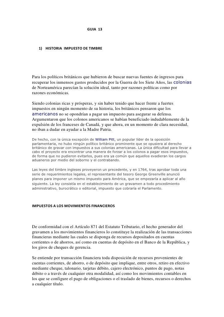 GUIA  13<br />HISTORIA  IMPUESTO DE TIMBRE<br />Para los políti...