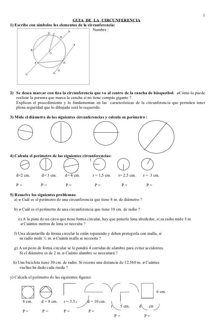 1                                   GUIA DE LA CIRCUNFERENCIA 1) Escribe con símbolos los elementos de la circunferencia: ...