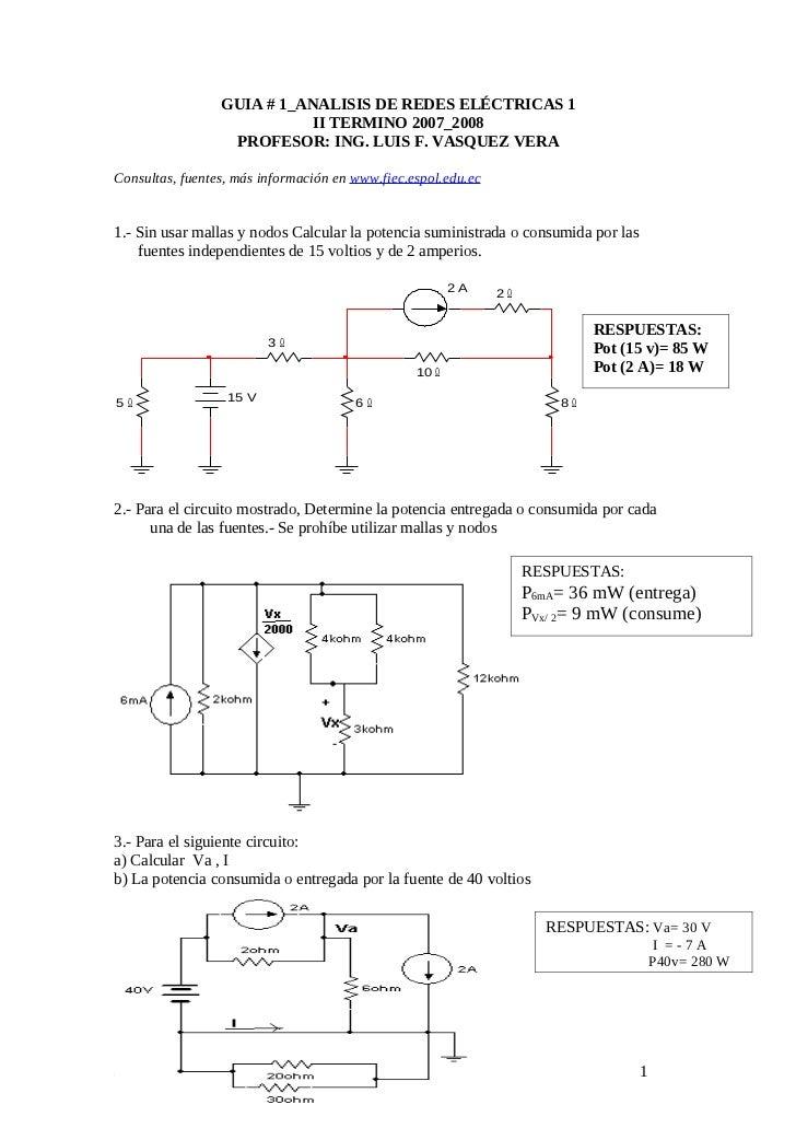 Ejercicios de redes electricas  de www.fiec.espol.edu.ec