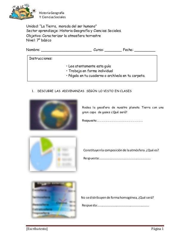 """HistoriaGeografía Y CienciasSociales [Escriba texto] Página 1 Unidad: """"La Tierra, morada del ser humano"""" Sector aprendizaj..."""